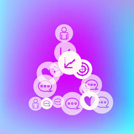 Social media marketing, Communication networking concept. Random icons social media services tags on color background. Comment, friend, like, share, target, message. Vector Internet concept. Stockfoto - 154843151