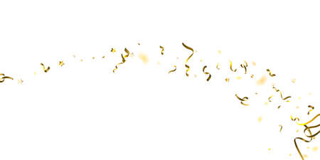 Holiday Serpentine. Gold Foil Streamers Ribbons. Confetti Star Falling on White Background. Party, Birthday Vector Template. Sparkle Serpentine. Celebration Elements. Bright Festive Tinsel Gold Color. Stock Illustratie