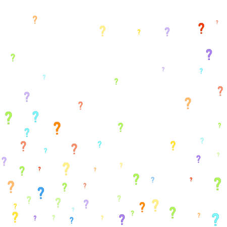 Question marks scattered on white background. Quiz, doubt, poll, survey, faq, interrogation, query background. Multicolored template for opinion poll, public poll. Rainbow color. Vector illustration. Imagens - 155371386