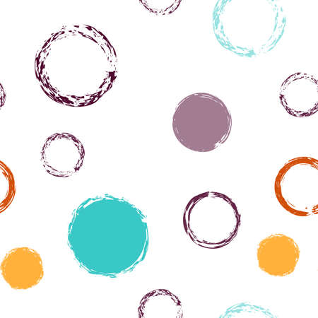 Colorful Polka Dots. Pastel Vector Seamless Pattern. Colorful Decor. White Abstract Background With Watercolor Fall Chaotic Shapes. Trend Pastel Surface. Chalk Brush Rounds, Confetti.