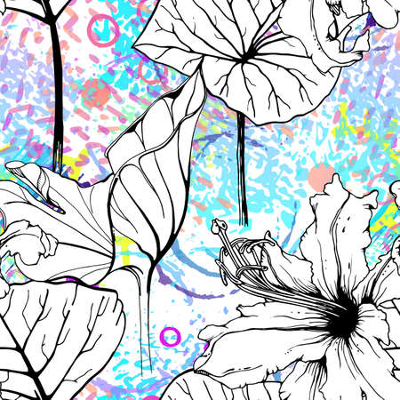 Artistic Floral Seamless Pattern. Outline Flowers Surface. Botanical Vector Motif. Blooming on Watercolor Texture For Fashion. Drawing Abstract Leaf. Trends Tropic Background. Black and White Print. 矢量图像