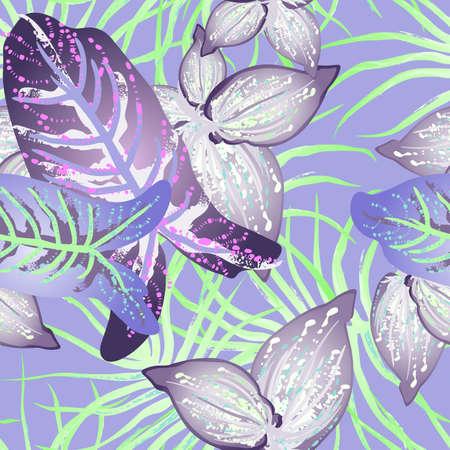 Tropical Leaf Modern Motif. Jungle Print. Foliage Summer Seamless Pattern. 矢量图像