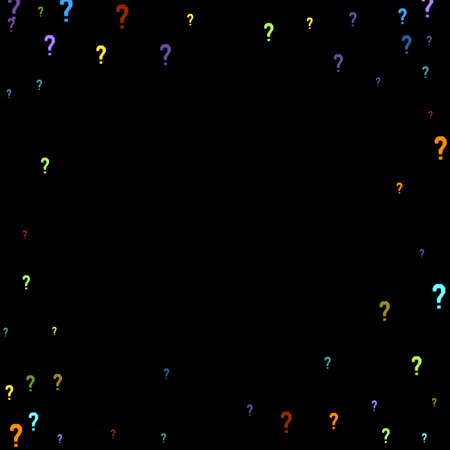 Question marks scattered on black background. Quiz, doubt, poll, survey, faq, interrogation, query background. Multicolored template for opinion poll, public poll. Rainbow color.