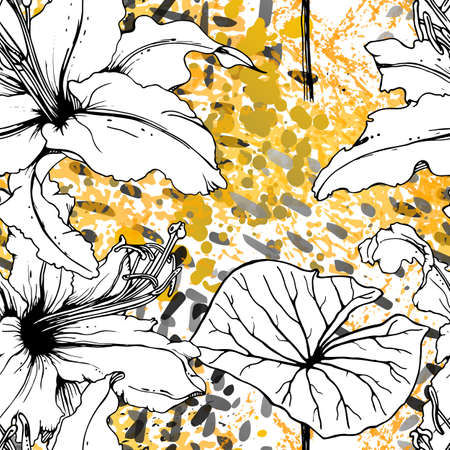 Floral Black and White Seamless Pattern. Modern Artistic Watercolor Print. Fashion Outline Flowers Surface. 矢量图像