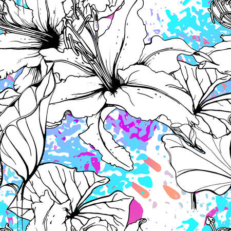 Artistic Floral Seamless Pattern. Outline Flowers Surface. Botanical Motif. Blooming on Watercolor Texture For Fashion. Drawing Abstract Leaf. Trends Tropic Background. Black and White Print.