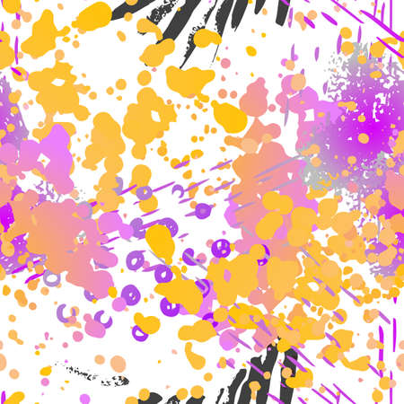 Distressed Seamless Pattern. Fashion Concept. Distress Print. Color, Bright Illustration. Army Surface Textile. Ink Stains. Spray Paint. Splash Blots. Artistic Creative Background.