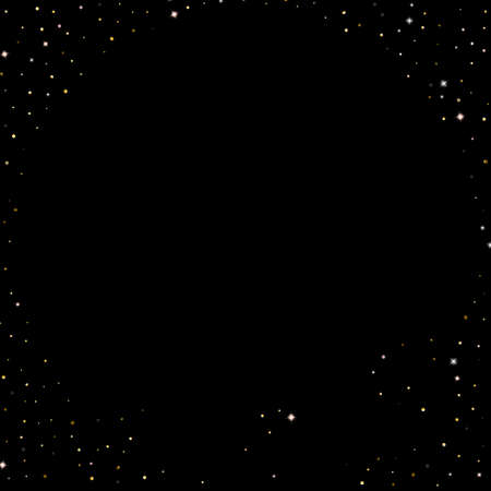 Gold Glitter Stars. Luxury Shiny Confetti. Scattered little sparkle. Flash glow silver element. Random magic tiny light. Hexagon stellar fall black background. New Year, Christmas Vector illustration. Иллюстрация