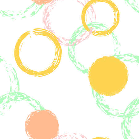 Black Brush Circle Seamless Pattern. Colorful Illustration. White Abstract Background With Watercolor Fall Chaotic Shapes. Modern Vintage Textile. Chalk Brush Rounds, Confetti.