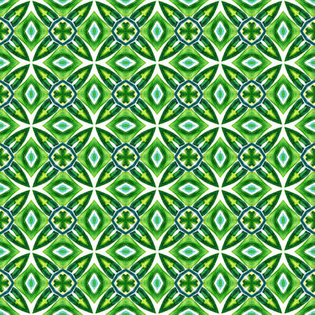 Geo Geometric, Endless Repeat Painting.  Gypsy, Mediterranean, South, East Ornament. Geo Geometric. Tribal Old Rug. Blue, Green  Surface. Geometrical Ornament.