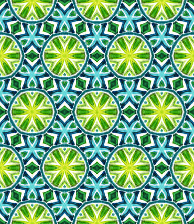 Geo Surface. Endless Repeat Painting.  Hippie, Boho, Gypsy, Mediterranean Ornament. Modern Abstract. Ethnic Modern Cloth. Blue, Green  Pattern. Geometry Pattern.