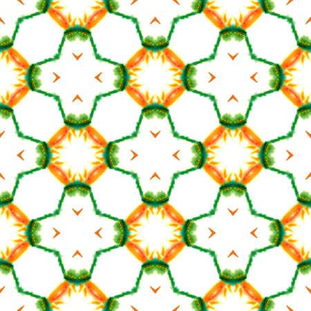 Geo Texture. Hand Drawn Painted. Tunisian, Turkish, Arab, Arabesque Seamless Pattern. Geo Surface. Native Modern Cloth. Green, Orange Art. Organic Art. 免版税图像