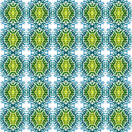 Geo Texture. Hand Drawn Painted. Indian, Aztec, Mexican, African, Seamless Pattern. Chevron Geometric. Ancient Woven. Blue, Green, Lime, Mint Mosaic. Woven Texture.