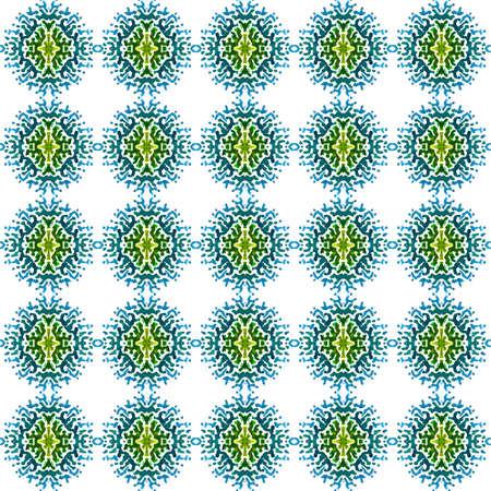 Ethnic  Art. Hand Drawn Painted. Russian, Celtic , Polish, Balto-Slavic Seamless Pattern. Watercolor Surface. Native Bed Linen. Blue, Green Print. Geometric Element. 免版税图像