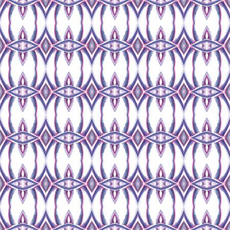 Ethnic Surface. Hand Drawn Painted. Aztec, Navajo, American, Cherokee  Seamless Pattern. Geo Texture. Folk Wallpaper. Pink, Purple, Lilac Pattern. Woven Print.