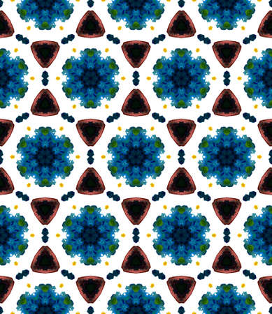 Ethnic Texture. Hand Drawn Painted. Pagan, Northern, Russian, Celtic Seamless Pattern. Traditional Surface. Native Wallpaper. Blue, Green Element. Ornamental Mosaic.