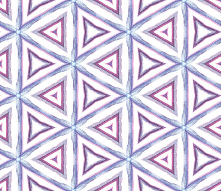 Geo Texture. Hand Drawn Painted. Mandala, Medallion, Floral, Flower Seamless Pattern. Watercolor Surface. Ancient Native Cloth. Purple, Pink Ornament. Geometrical Texture.