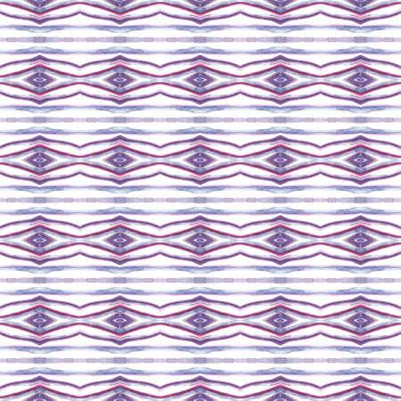 Chevron Geometric Hand Drawn Painted.  African, Peru, Mexico, Navajo Seamless Pattern.  Modern Abstract. Folklore Embroidery. Pink, Purple, Lilac Art. Organic Print.