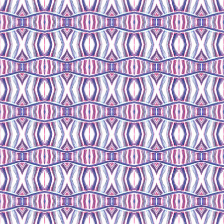 Traditional Graphic Hand Drawn Painted.  Peruvian, Mexican, Navajo Seamless Pattern. Geo Texture. Folklore Linen. Pink, Purple, Lilac Mosaic. Chevron Pattern.