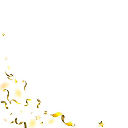 Holiday Serpentine. Gold Foil Streamers Ribbons. Confetti Star Falling on White Background. Party, Birthday Vector Template. Sparkle Serpentine. Celebration Elements. Bright Festive Tinsel Gold Color. Illusztráció