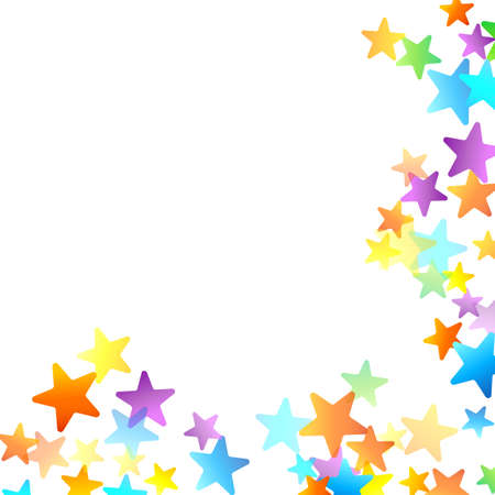 Rainbow Festive Confetti. Carnival Template. Colorful Star Falling. Beautiful Holidays Party. Little Tiny Multicolor Sprockets on White Background.