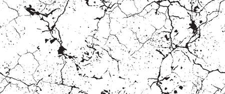 Distress Grunge Texture. Seamless Pattern. Halftone Old, Retro Background. Broken, Cracked Wall Texture. Scratched, Dirt Print. Black and White Grunge Style. Noise Rough Design. Çizim