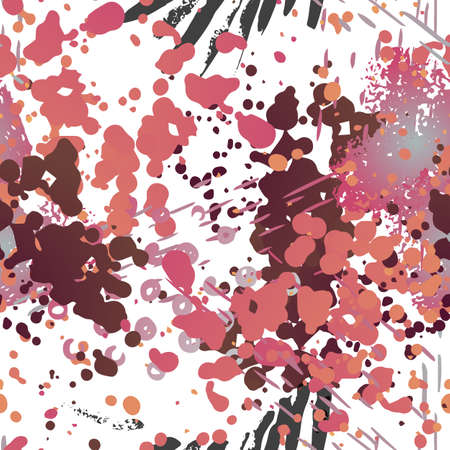 Ink Stains Seamless Pattern. Fashion Concept. Distress Print. Bordo, Pink Illustration. Dirty Surface Textile. Ink Stains. Spray Paint. Splash Blots. Artistic Creative Vector Background.