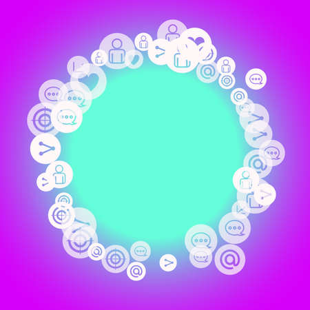 Social media marketing, Communication networking concept. Random icons social media services tags on color background. Comment, friend, like, share, target, message. Vector Internet concept.