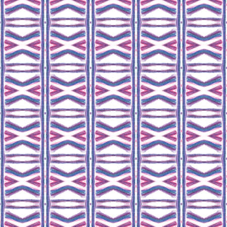 Traditional Art. Hand Drawn Painted. American, Navajo, Cherokee Seamless Pattern. Watercolor Surface. Tribal Linen. Pink, Purple, Lilac Tile. Geometric Texture.