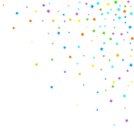 Rainbow Festive Confetti. Carnival Template. Colorful Star Falling. Beautiful Holidays Party. Little Tiny Multicolor Sprockets on White Background. Bright Vector Illustration. Stockfoto - 157666124