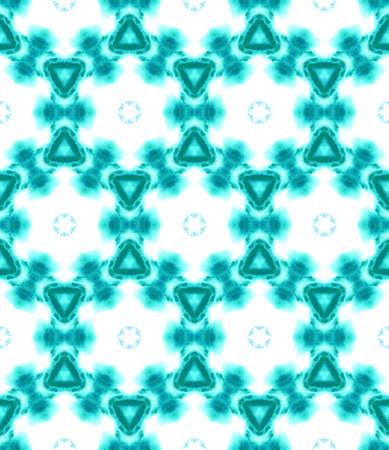 Traditional Art. Hand Drawn Painted. Eastern, Mandala, Medallion, Floral Seamless Pattern. Geo Texture. Ancient Folklore Linen. Blue, Indigo Art. Medallion Watercolor.