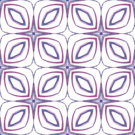 Traditional Graphic Hand Drawn Painted.  Talavera, Tunisian, Turkish, Arab Seamless Pattern. Geo Surface. Tribal Old Rug. Purple, Pink Design. Geometry Motif.