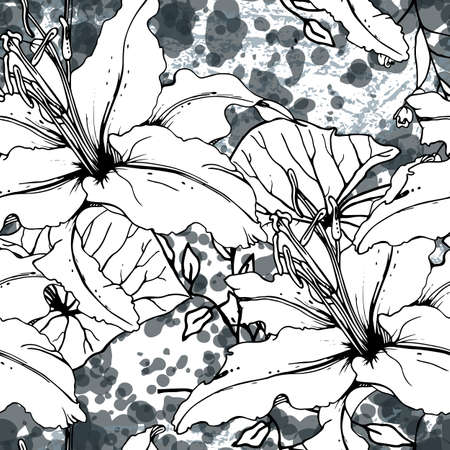 Floral Black and White Seamless Pattern. Modern Artistic Watercolor Print. Fashion Outline Flowers Surface. Botanic Vector Motif on Ink Stains Texture. Drawing Abstract Leaf. Trend Tropic Background. Stockfoto - 157666197