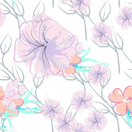 Pink Flowers Blooming Pattern. Pastel Watercolor Floral Print. Little Pink, Yellow, Lilac flower on grey leaf. Elegant brush Background. Seamless Botanical Vector Surface. Texture For Fashion Prints. Stockfoto - 157666269