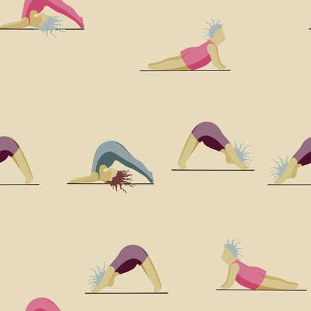 Girls Doing Yoga. Seamless Pattern Woman Pose Practicing Yoga. Happy Body Positive Concept. Love My Body. Asana Spiritual. Cartoon Character, Brush Contour. Fat, Overweight, Plus Size, Obese Vector. Stockfoto - 157666277