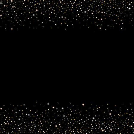 Gold Glitter Stars. Luxury Shiny Confetti. Scattered little sparkle. Flash glow silver element. Random magic tiny light. Hexagon stellar fall black background. New Year, Christmas Vector illustration. 矢量图像