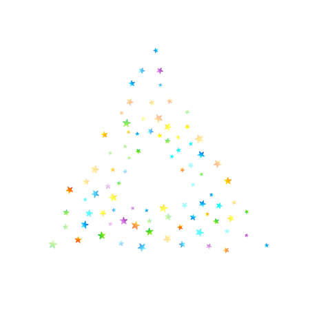 Rainbow Festive Confetti. Carnival Template. Colorful Star Falling. Beautiful Holidays Party. Little Tiny Multicolor Sprockets on White Background. Bright Vector Illustration.