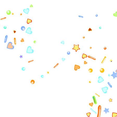 Sprinkles grainy. Cupcake donuts, dessert, sugar, bakery background. Sweet confetti on white chocolate glaze background. Vector Illustration sprinkles holiday designs, party, birthday, invitation.