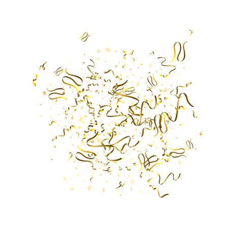 Holiday Serpentine. Gold Foil Streamers Ribbons. Confetti Star Falling on White Background. Party, Birthday Vector Template. Sparkle Serpentine. Celebration Elements. Bright Festive Tinsel Gold Color. 벡터 (일러스트)