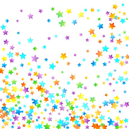 Rainbow Festive Confetti. Carnival Template. Colorful Star Falling. Beautiful Holidays Party. Little Tiny Multicolor Sprockets on White Background. Bright Vector Illustration. Stockfoto - 157684346