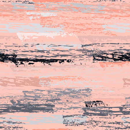Grunge Dry Paint Surface. Stripy Crayon Pencil Strokes. Seamless Pattern. Sport Chalk Trends Motif. Pastel Pink Backdrop. Swipe Charcoal Texture Surface. Dirty Brush Vector Background.
