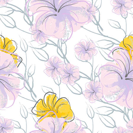 Pink Flowers Blooming Pattern. Pastel Watercolor Floral Print. Little Pink, Yellow, Lilac flower on grey leaf. Elegant brush Background. Seamless Botanical Vector Surface. Texture For Fashion Prints.