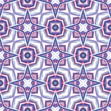 Traditional Surface. Endless Repeat Painting.  Orient, Spanish, Talavera, Tunisian Ornament. Ethnic Texture. Traditional Ethnic Wallpaper. Purple, Pink Ornament. Stripes Motif.