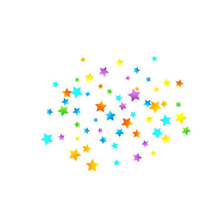 Rainbow Festive Confetti. Carnival Template. Colorful Star Falling. Beautiful Holidays Party. Little Tiny Multicolor Sprockets on White Background. Bright Vector Illustration. Stockfoto - 157700902