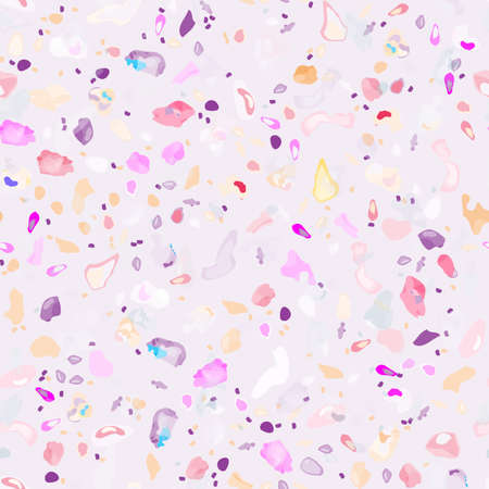Terrazzo Texture Vector. Flooring Seamless Pattern. Floor Granite Textured. Stone, Rock, Marble Textile Background. Natural Pavement, Mosaic Template. Quartz, Pebble Tile. Design Interior Decor. Stock Illustratie