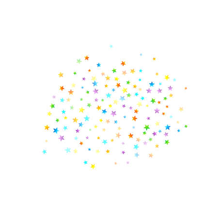 Rainbow Festive Confetti. Carnival Template. Colorful Star Falling. Beautiful Holidays Party. Little Tiny Multicolor Sprockets on White Background. Bright Vector Illustration. Stockfoto - 157702356
