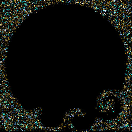 Stars Confetti. Gold, Blue stars, shiny confetti.  Scattered little sparkling, glitter star. Random stellar falling on black background. New Year Christmas background. Vector illustration. Stockfoto - 157702366