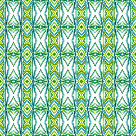 Traditional Art. Hand Drawn Painted. American, Navajo, Cherokee Seamless Pattern. Tribal Texture. Ancient Textile. Blue, Green, Lime, Mint Surface. Chevron Ornament. Stockfoto - 157702496