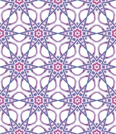 Geo Art. Endless Repeat Painting.  Mandala, Medallion, Floral, Flower Ornament. Geo Texture. Folk Old Embroidery. Purple, Pink Element. Natural Print. Stockfoto - 157702508