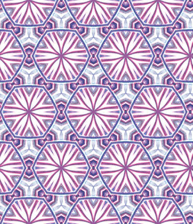 Modern Abstract, Endless Repeat Painting.  Mediterranean, Majolica, Azulejo, Portuguese Ornament. Geo Art. Old Fabric. Purple, Pink Watercolor. Geometry Motif. Stockfoto - 157702531
