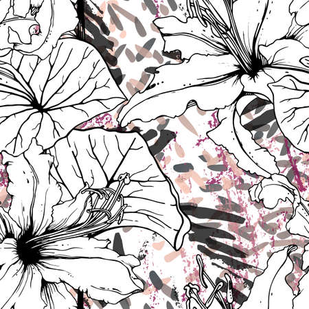 Floral Black and White Seamless Pattern. Modern Artistic Watercolor Print. Fashion Outline Flowers Surface. Botanic Vector Motif on Ink Stains Texture. Drawing Abstract Leaf. Trend Tropic Background. Stockfoto - 157702538